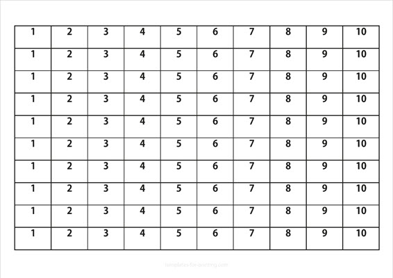 Numbers to learn 1-10 black