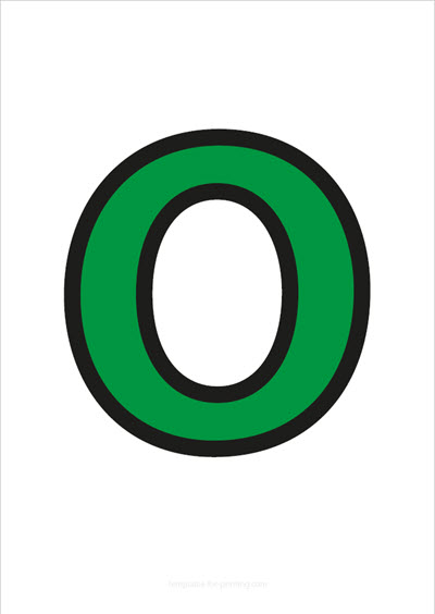 O Capital Letter Green with black contours