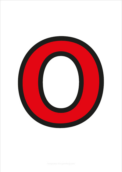O Capital Letter Red with black contours