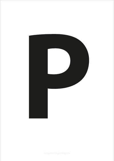 P Capital Letter Black A4