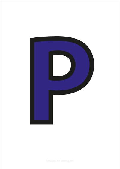 P Capital Letter Blue with black contours