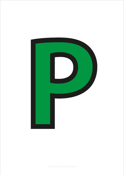 P Capital Letter Green with black contours
