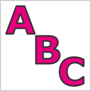 Pink Capital letters with black contours