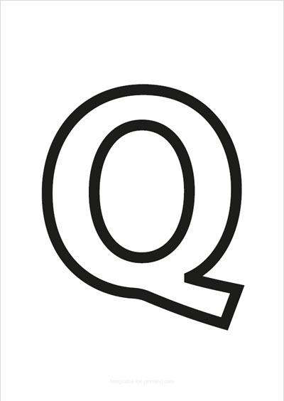 Q Capital Letter Black only contours