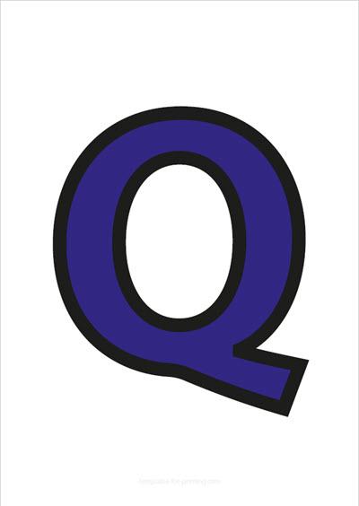 Q Capital Letter Blue with black contours