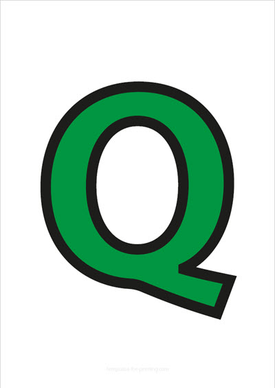 Q Capital Letter Green with black contours