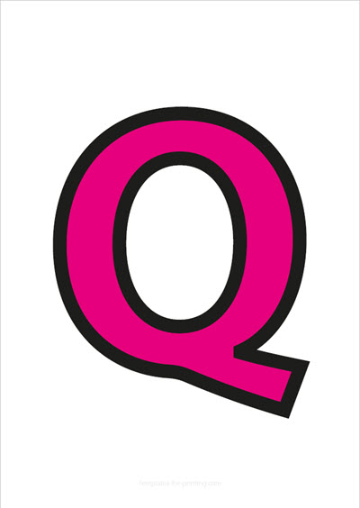 Q Capital Letter Pink with black contours