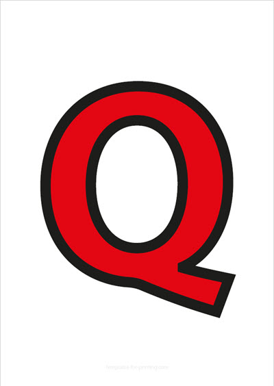 Q Capital Letter Red with black contours