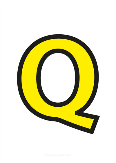 Q Capital Letter Yellow with black contours