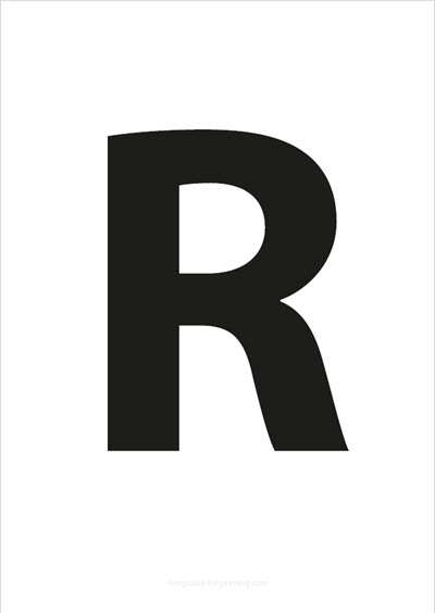 R Capital Letter Black A4