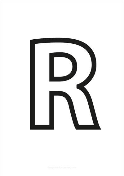 R Capital Letter Black only contours