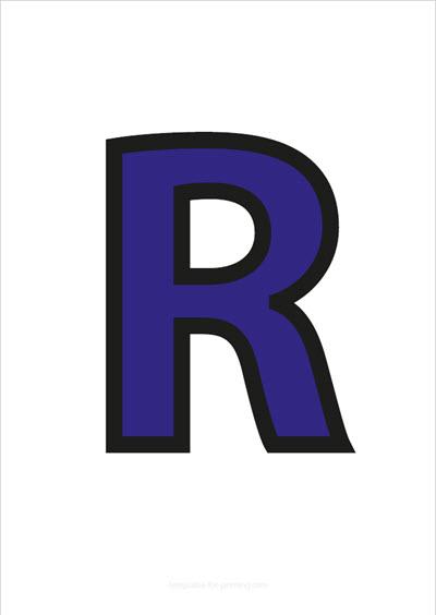 R Capital Letter Blue with black contours