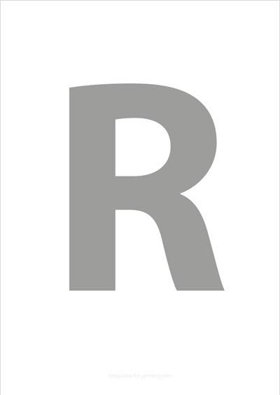 R Capital Letter Gray