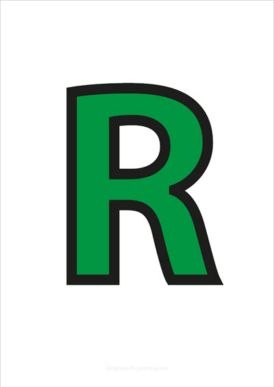 R Capital Letter Green with black contours