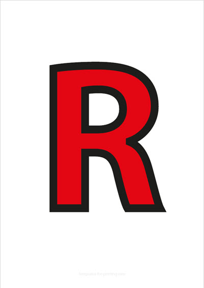 R Capital Letter Red with black contours