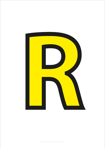R Capital Letter Yellow with black contours
