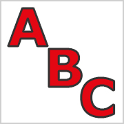 Red Capital letters with black contours