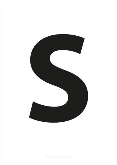 S Capital Letter Black A4