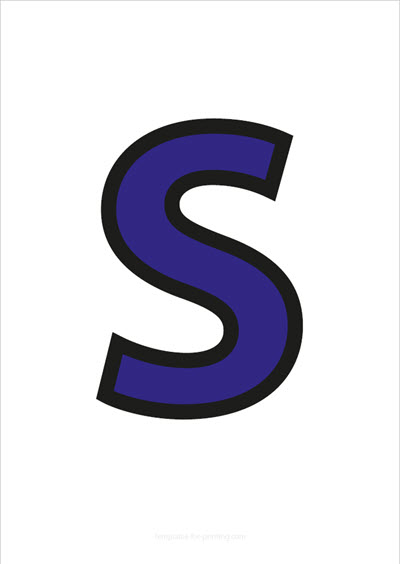 S Capital Letter Blue with black contours