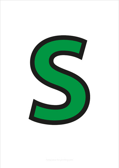 S Capital Letter Green with black contours