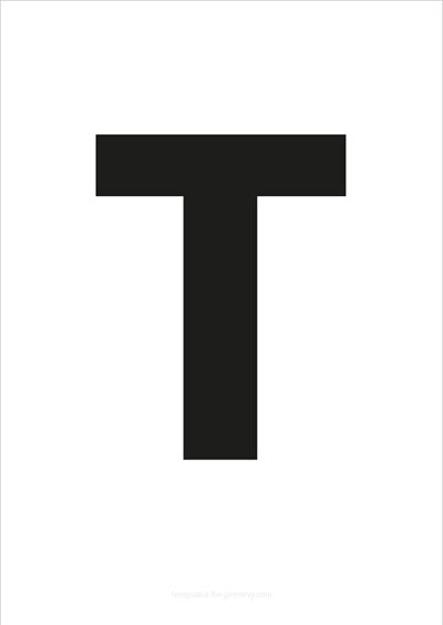 T Capital Letter Black A4