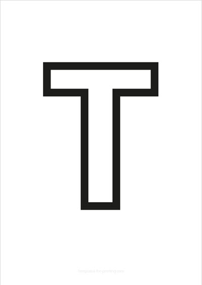 T Capital Letter Black only contours