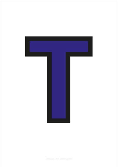 T Capital Letter Blue with black contours