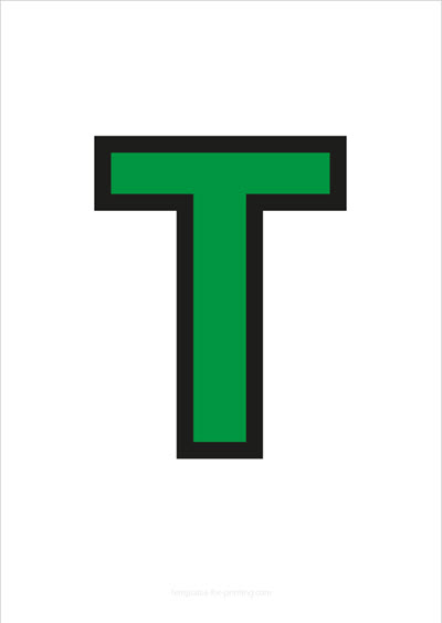 T Capital Letter Green with black contours