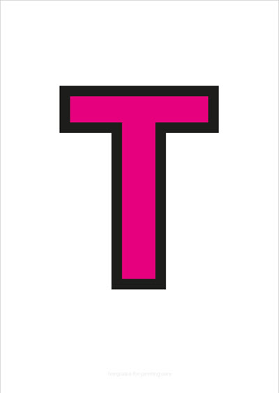 T Capital Letter Pink with black contours