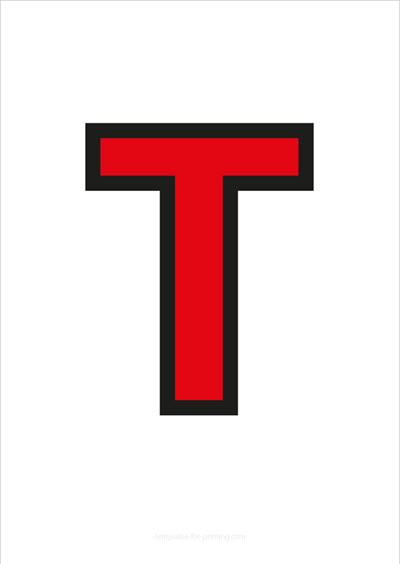 T Capital Letter Red with black contours