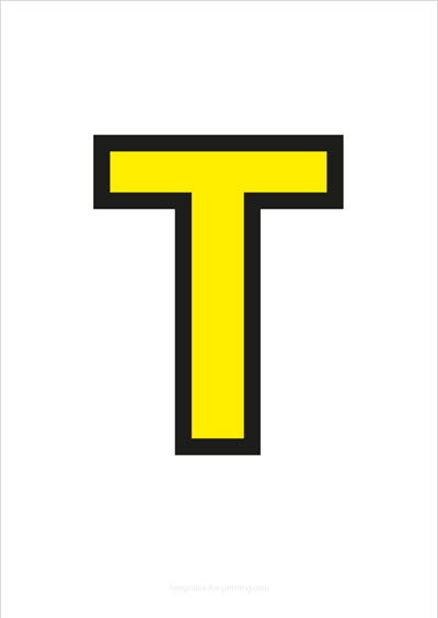T Capital Letter Yellow with black contours