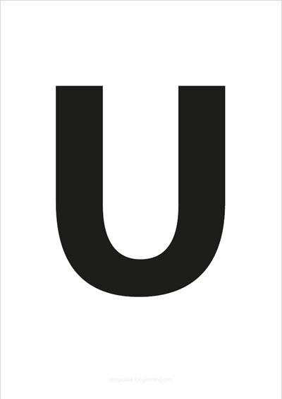 U Capital Letter Black A4