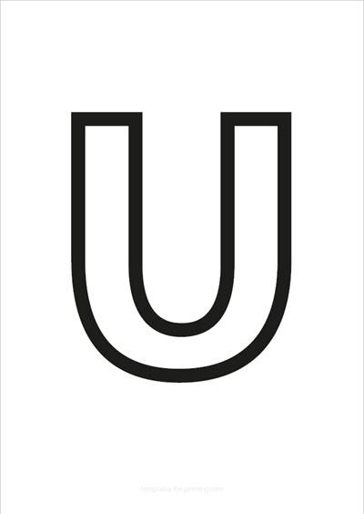 U Capital Letter Black only contours