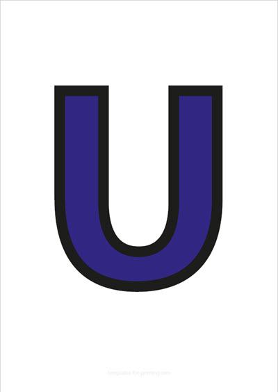 U Capital Letter Blue with black contours
