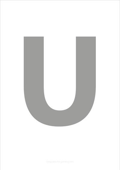 U Capital Letter Gray