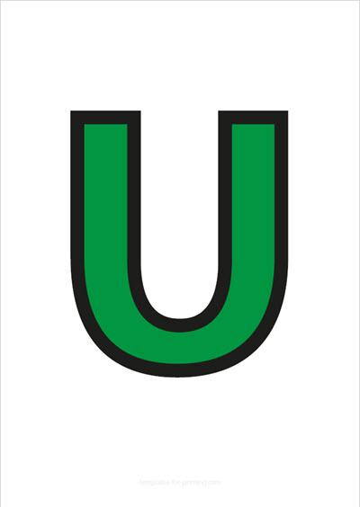 U Capital Letter Green with black contours