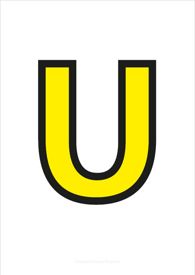 U Capital Letter Yellow with black contours