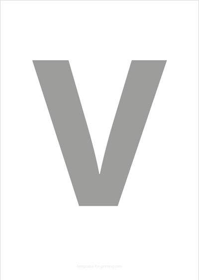 V Capital Letter Gray