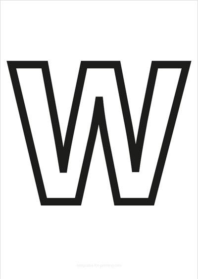 W Capital Letter Black only contours