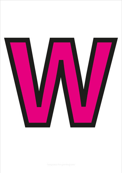 W Capital Letter Pink with black contours