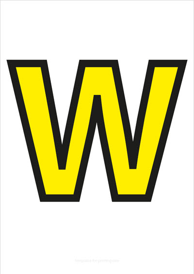 W Capital Letter Yellow with black contours