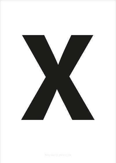 X Capital Letter Black A4