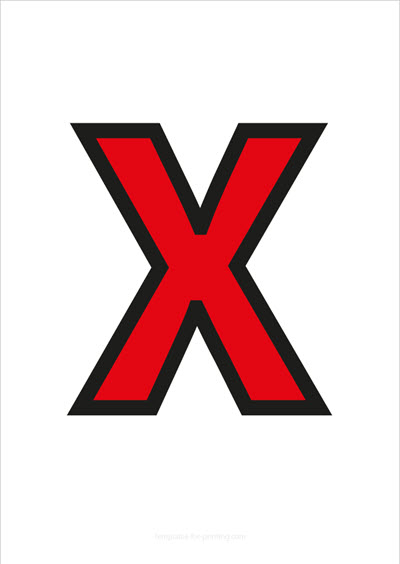 X Capital Letter Red with black contours