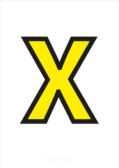 X Capital Letter Yellow with black contours
