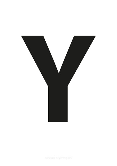 Y Capital Letter Black A4
