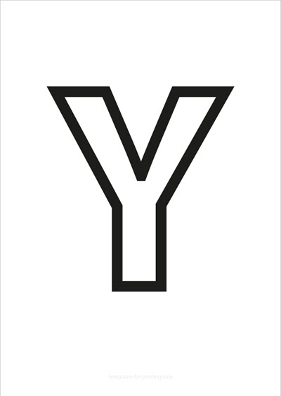 Y Capital Letter Black only contours