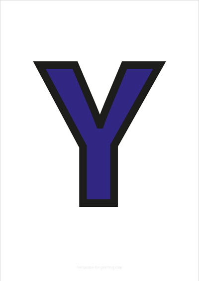 Y Capital Letter Blue with black contours