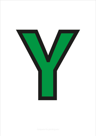 Y Capital Letter Green with black contours
