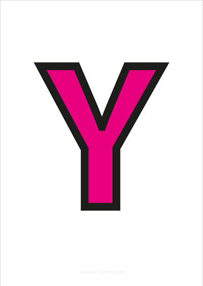 Y Capital Letter Pink with black contours