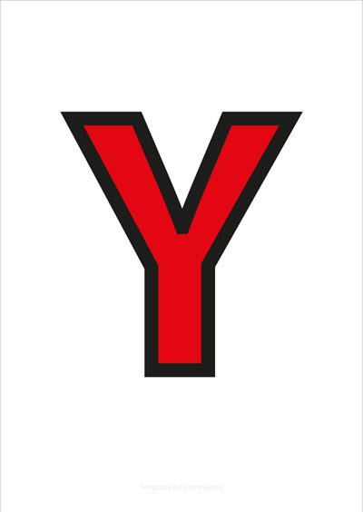 Y Capital Letter Red with black contours